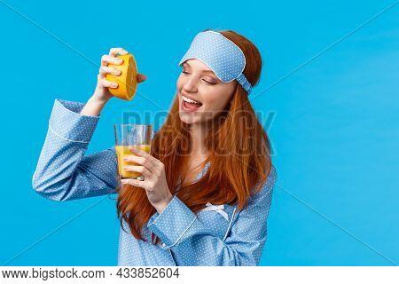 Starting Morning Healthy. Waist-up Portrait Glamour, Feminine Pretty Foxy Teenage Girl Prepare Fresh