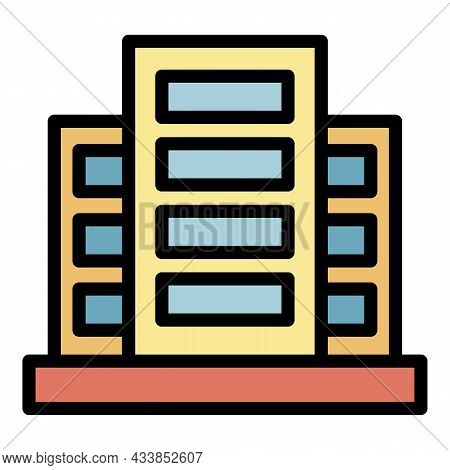City Lease Building Icon. Outline City Lease Building Vector Icon Color Flat Isolated