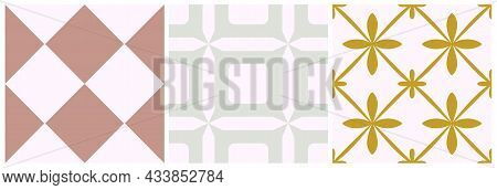 Tile Seamless Pattern Set. Vector Geometric Background. Traditional Moroccan, Portugal Print Design.
