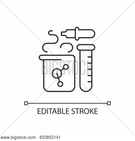 Chemistry Linear Icon. Chemical Reaction In Beaker. Test Tube, Pipette. Laboratory Equipment. Thin L