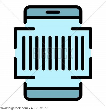 Telephone Scan Barcode Icon. Outline Telephone Scan Barcode Vector Icon Color Flat Isolated