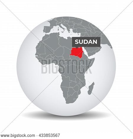 World Globe Map With The Identication Of Sudan. Map Of Sudan. Sudan On Grey Political 3d Globe. Afri