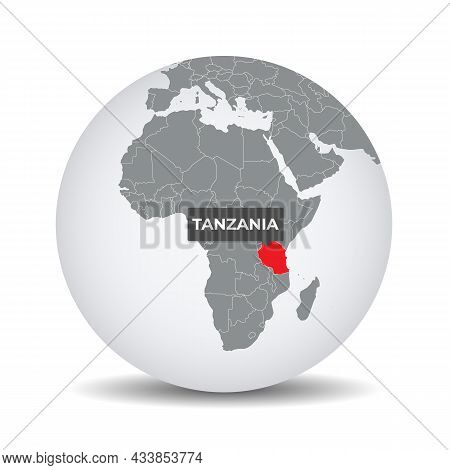 World Globe Map With The Identication Of Tanzania. Map Of Tanzania. Tanzania On Grey Political 3d Gl
