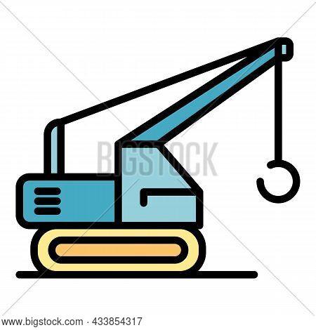 Ring Crane Excavator Icon. Outline Ring Crane Excavator Vector Icon Color Flat Isolated