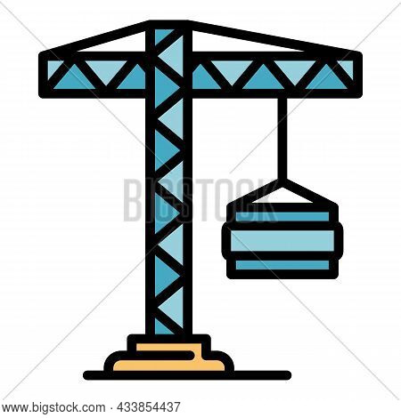 Load Crane Icon. Outline Load Crane Vector Icon Color Flat Isolated