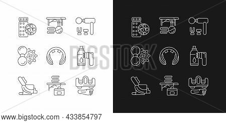 Electric Massagers Linear Icons Set For Dark And Light Mode. Acupressure Pad. Massage Table And Oil.
