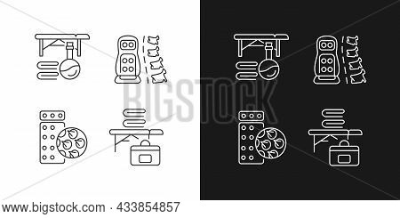 Back Massage Equipment Linear Icons Set For Dark And Light Mode. Portable Table. Acupressure Mat, Vi
