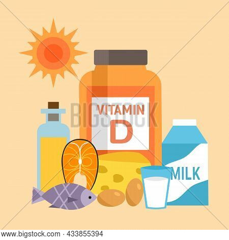Vitamin D Food Sources Infographic Vector Illustration. Healthy Food. Essential Nutrition For Health
