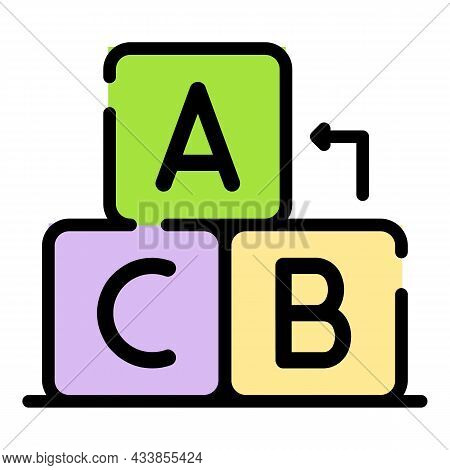 Abc Cubes Icon. Outline Abc Cubes Vector Icon Color Flat Isolated