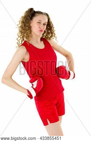 Teen Blonde Girl Fighting In Red Boxing Gloves. Girl Boxer With Two Curly Ponytails In Sports Unifor