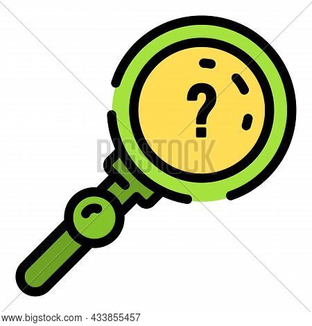 Quest Question Magnify Glass Icon. Outline Quest Question Magnify Glass Vector Icon Color Flat Isola