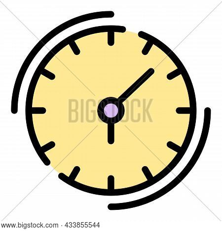 Quest Clock Icon. Outline Quest Clock Vector Icon Color Flat Isolated