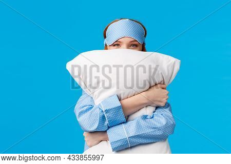 Lovely And Sensual, Tender Cute Redhead Woman In Nightwear, Teen Girl Hugging Pillow And Smiling, Sq