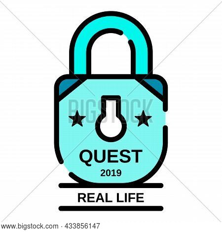 Padlock Quest Real Life Icon. Outline Padlock Quest Real Life Vector Icon Color Flat Isolated