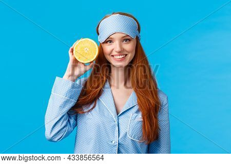 Start Your Morning Right. Diet, Healthy Lifestyle And Beauty Concept. Cheerful Glamour Redhead Woman