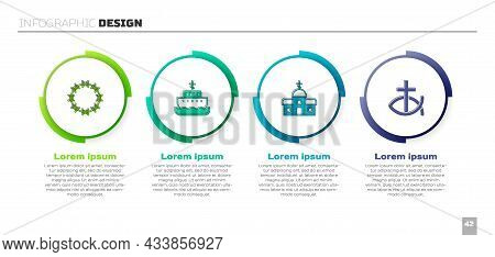 Set Crown Of Thorns, Ark Noah, Church Building And Christian Fish. Business Infographic Template. Ve