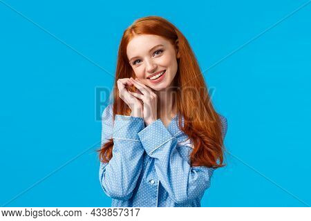 Tenderness, Beauty And Lifestyle Concept. Cute Happy Charming Redhead Woman In Lovely Nightwear, Get