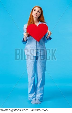 Dreamy And Creative, Redhead Caucasian Girl Thinking What Her Future Love Look Like, Looking Up Usin