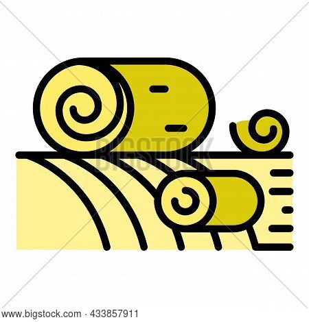 Roll Hay On Field Icon. Outline Roll Hay On Field Vector Icon Color Flat Isolated