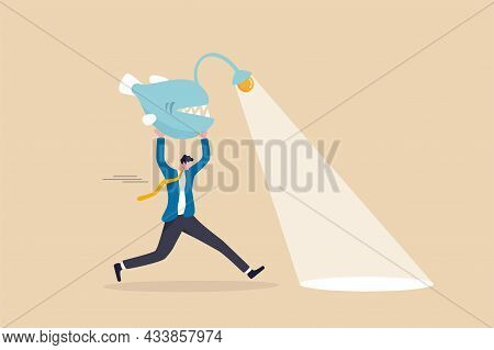 Business Direction, Flashlight To See Opportunity, Spotlight To Bright Success Future, Leadership An