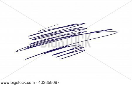 Blue Abstract Vector Wavy Calligraphy Line. Illustration Element Of Design For Posters And Flyers St