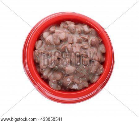 Wet Pet Food In Red Feeding Bowl Isolated On White, Top View