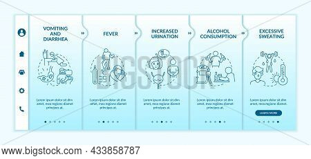 Dehydration Causes Blue Gradient Onboarding Vector Template. Responsive Mobile Website With Icons. W