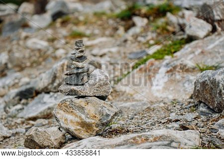A Lot Of Stone Cairns At Former Marble Quarry In Ruskeala, Karelia, Russia. Stone Turret