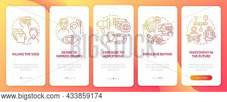 Reasons For Consumerism Red Gradient Onboarding Mobile App Page Screen. Walkthrough 5 Steps Graphic