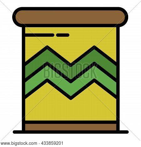 Ornamental Brazil Drums Icon. Outline Ornamental Brazil Drums Vector Icon Color Flat Isolated
