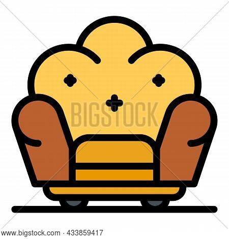Soft Armchair Icon. Outline Soft Armchair Vector Icon Color Flat Isolated