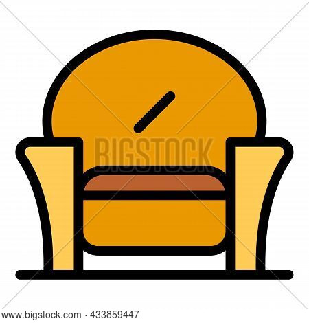 Textile Armchair Icon. Outline Textile Armchair Vector Icon Color Flat Isolated