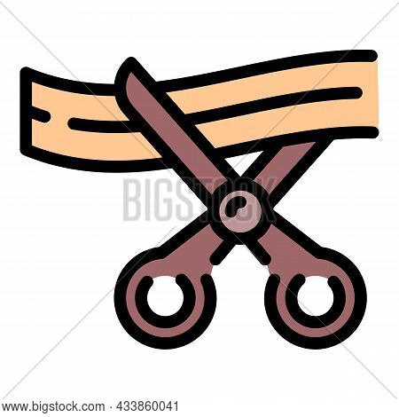 Open Ceremony Scissors Cutting Icon. Outline Open Ceremony Scissors Cutting Vector Icon Color Flat I