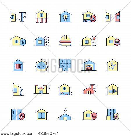 Building Safety Requirements Rgb Color Icons Set. Remodeling House. Standards For Buildings Design.