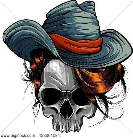 Vector Illustration Of Skull Cowboy Art Design