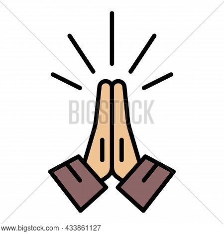 Hands Folded In Prayer Icon. Outline Hands Folded In Prayer Vector Icon Color Flat Isolated