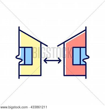 Minimum Distance Between Buildings Rgb Color Icon. Regulation For Human Habitation. Apartment Houses