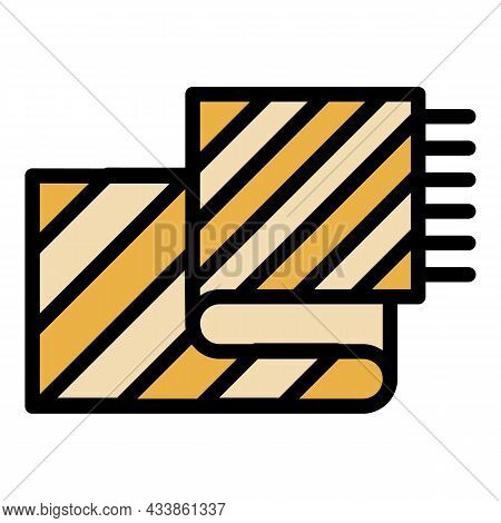 Waffle Towel Icon. Outline Waffle Towel Vector Icon Color Flat Isolated