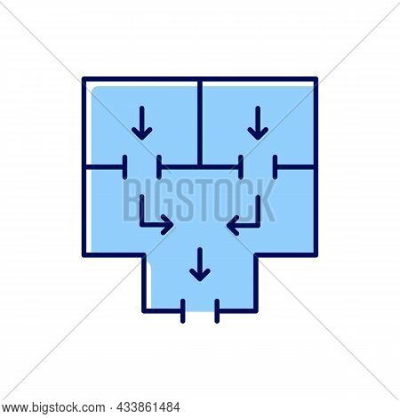 Means To Vacate Building Rgb Color Icon. Planning Apartment Building Escape. Evacuation Route. Emerg