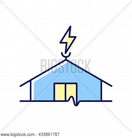 Lightning Rod Rgb Color Icon. Protecting Buildings From Lightning Strike Damage. Discharging Dangero