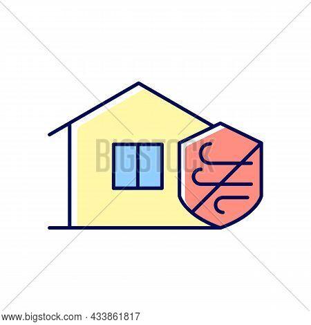 Weather Resistance Rgb Color Icon. Weatherproofing Apartment Building. Building Hurricane-resistant