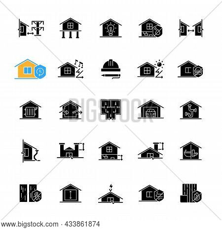 Building Safety Requirements Black Glyph Icons Set On White Space. Remodeling House. Standards For B