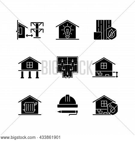 Building Safety Regulations Black Glyph Icons Set On White Space. Adequate Housing. Resistance To Fi
