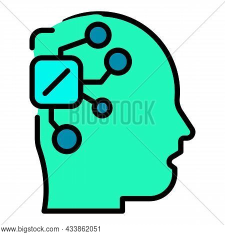 Microchip In The Head Icon. Outline Microchip In The Head Vector Icon Color Flat Isolated