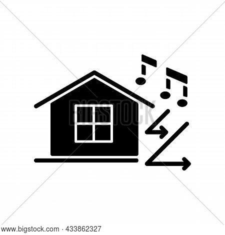 Sound Insulation Black Glyph Icon. Walls Soundproofing Performance Improvement. Provide Sound Attenu