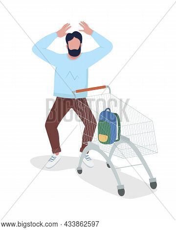 Shocked Man With Shopping Cart Semi Flat Color Vector Character. Posing Figure. Full Body Person On