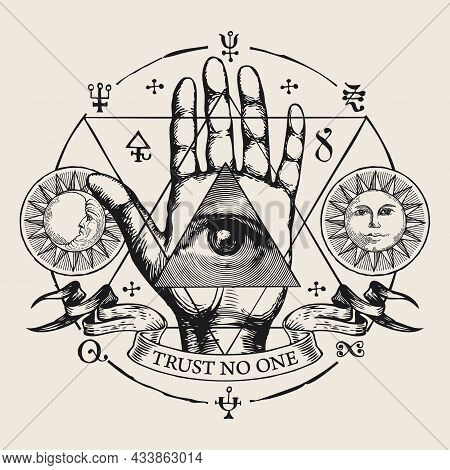 Hand-drawn Round Vector Emblem With All-seeing Eye Of God On An Open Palm. Human Hand With Eye Of Pr