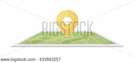 Geo Location Semi Flat Color Vector Object. Search Place On Map. Full Realistic Item On White. Carto