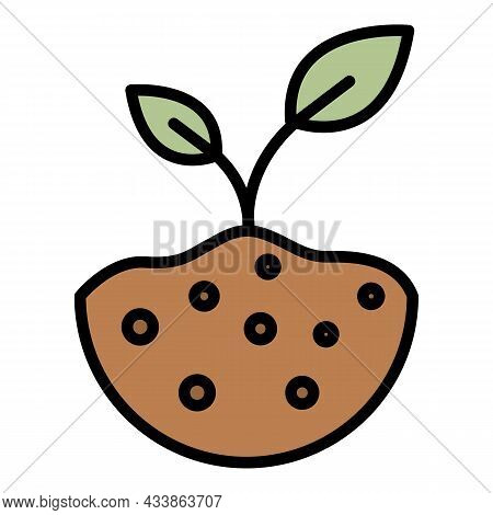 Sprout In Fertile Soil Icon. Outline Sprout In Fertile Soil Vector Icon Color Flat Isolated