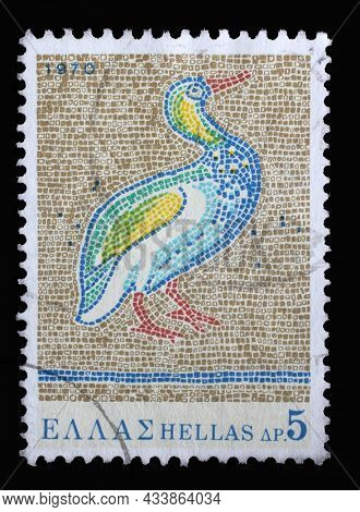 ZAGREB, CROATIA - JUNE 25, 2014: Stamp printed in Greece from the Greek Mosaics issue shows Bird, St. George's Church, Thessaloniki (5th century A.D.), circa 1970.